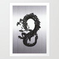 Black Oriental Dragon on Silver Art Print