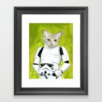 Poopy the Kitty Storm Trooper  Framed Art Print