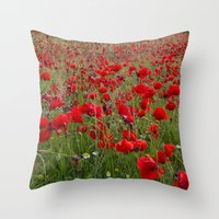 Field of poppies in the lake Throw Pillow