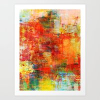 AUTUMN HARVEST - Fall Colorful Abstract Textural Painting Warm Red Orange Yellow Green Thanksgiving Art Print