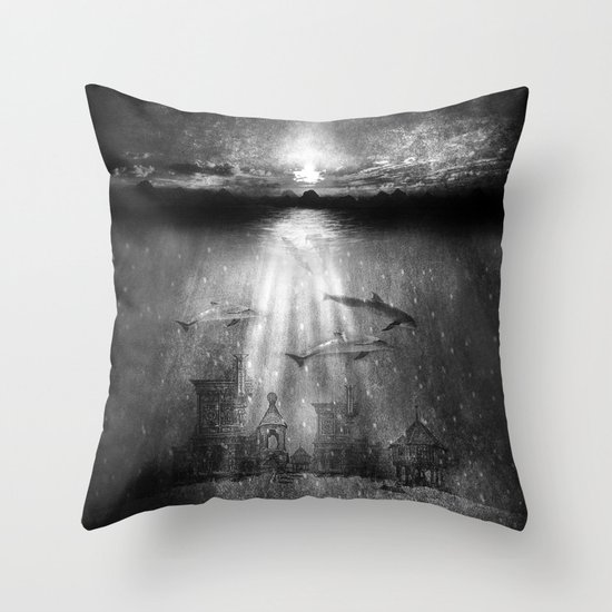 dolphins, civilization. Throw Pillow