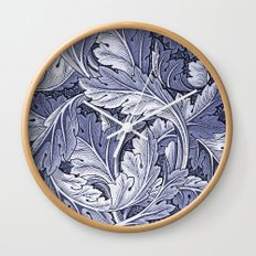 Acanthus Nouveau Style in Blue Wall Clock
