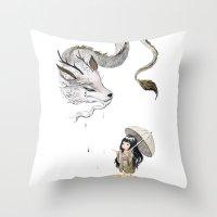 Water Dragon Throw Pillow