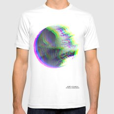 Death Star Glitch Wars Mens Fitted Tee White SMALL