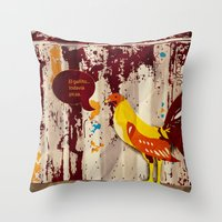 The Rooster Still Bites Throw Pillow