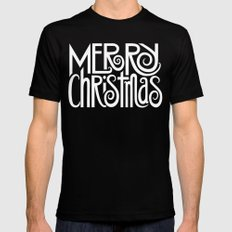 Merry Christmas Text White Mens Fitted Tee Black SMALL