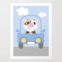 Mobil series car cow Art Print