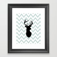 Chevron Deer Silhouette Framed Art Print