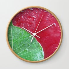Leaf on red Wall Clock