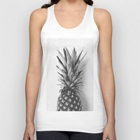 Black and white pineapple Unisex Tank Top