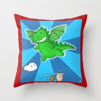 Godzilla rains first! Throw Pillow