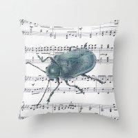 Music Beetle Throw Pillow
