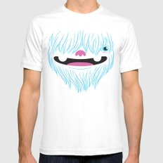 Happy Yeti White SMALL Mens Fitted Tee