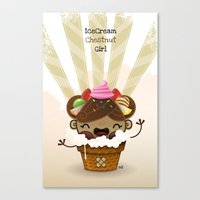 Ice Cream Chestnut Girl Canvas Print