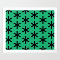 Vondel Black on Green Pattern Art Print