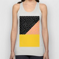 Peach Fuzz Black Polka Dot /// www.pencilmeinstationery.com Unisex Tank Top