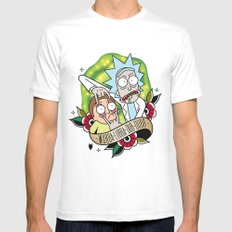 Traditional Rick and Morty  Mens Fitted Tee White SMALL