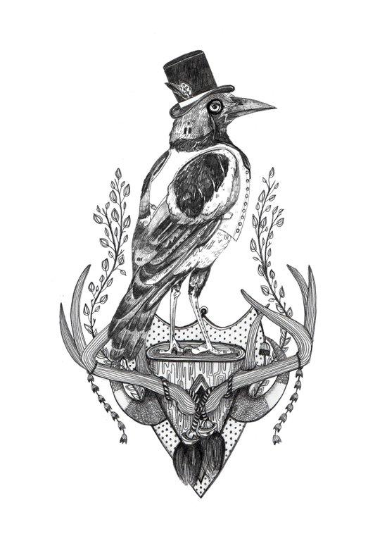 Mr. Magpie Art Print
