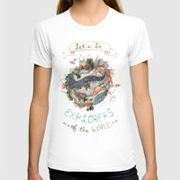 Let's Be Explorers  Womens Fitted Tee White SMALL