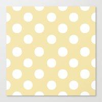 Polka Dots (White/Vanilla) Canvas Print