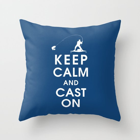 Keep Calm and Cast On Throw Pillow