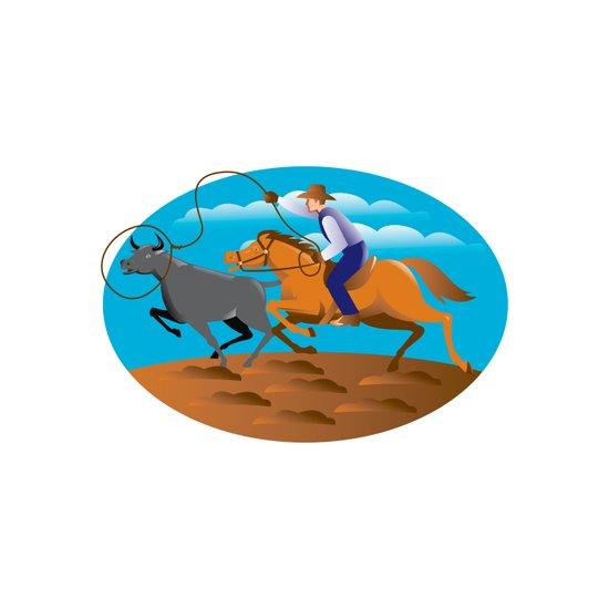 Rodeo Cowboy Lasso Cow Art Print