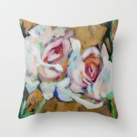 Two Roses On Gold Throw Pillow
