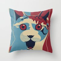 ✩ The OMG Cat Poster Throw Pillow