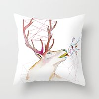 October Deer Throw Pillow