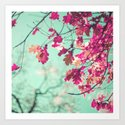 Purple leafs over mint Art Print