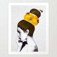 bee Art Prints featuring The Bee Hive  by Jenny Liz Rome