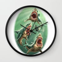 Great White Sharks #1 Wall Clock