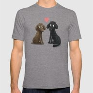 Cute Dog Illustration- P… Mens Fitted Tee Tri-Grey SMALL