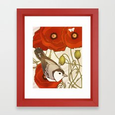 Grey Bird, Red Flowers Framed Art Print