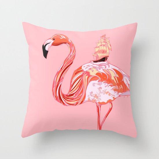Flamingo & Sea Throw Pillow