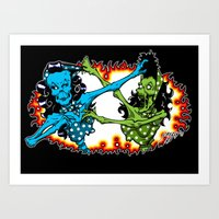 Psychobilly Catfight Art Print