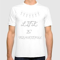 Life Is Beautiful (Gray) Mens Fitted Tee White SMALL