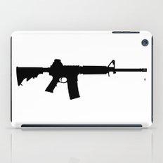 AR15 in black silhouette on white iPad Case