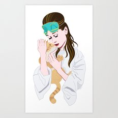 Holly Golightly's cat / Audrey Hepburn Art Print