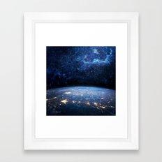 Earth and Galaxy Framed Art Print