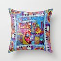 Abstract Steam Punk Music Collage Throw Pillow