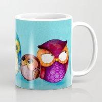 Fabric Owl Family Mug