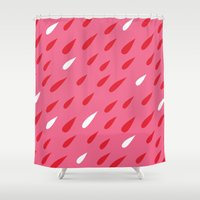 Red + Pink Droplets Shower Curtain