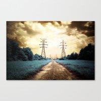 Golden Power Lines Canvas Print
