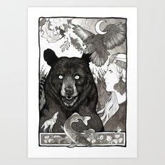 Bear, wolf, pike and falcon Art Print