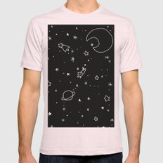 Space Cat Mens Fitted Tee Light Pink SMALL