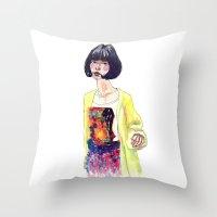 Fashion Illustration . Oriental Girl Throw Pillow