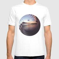 Circular Beach Mens Fitted Tee White SMALL