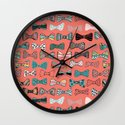 Bow tie geek in pink Wall Clock