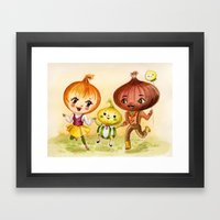 Kitschy Cute Onion Famil… Framed Art Print